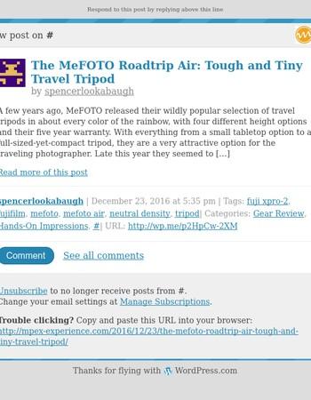 [New post] The MeFOTO Roadtrip Air: Tough and Tiny Travel Tripod