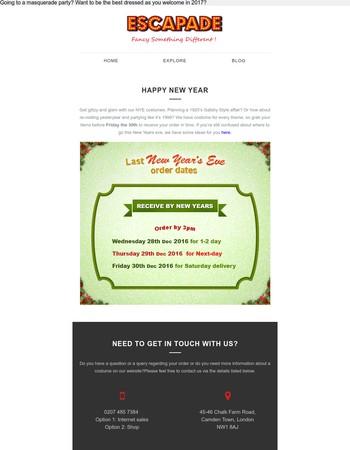 Escapade Fancy Dress Newsletter