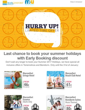 Last chance to book your summer holidays with the best discounts