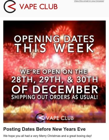 VapeClub.co.uk - Opening times this week