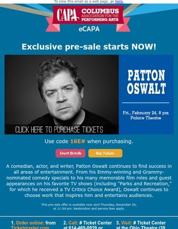 Pre-sale for Patton Oswalt starts NOW!