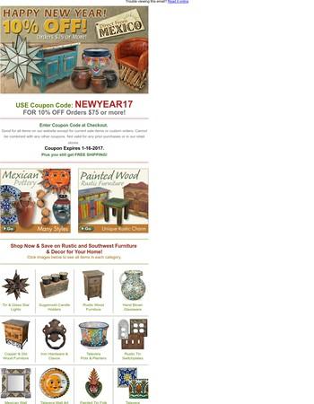 Happy New Year Savings 10% Off - Rustic Furniture & Decor