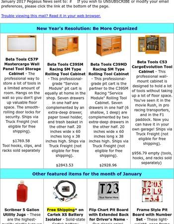 Beta Tool Storage, Cartek Battery Isolators, Pit Boards - January Pegasus News