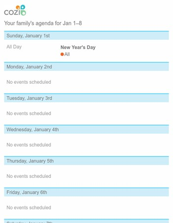 Your agenda for Jan 1-8