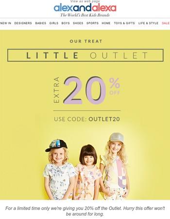 Enjoy 20% off the Outlet