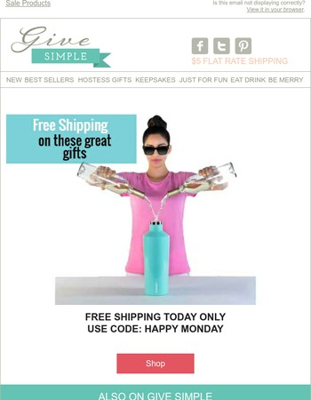 Free Shipping - Happy Monday.