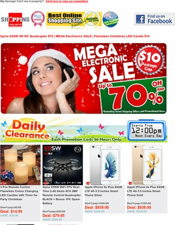 Syma X5SW HD RC Quadcopter $79 | MEGA Electronics SALE | Flameless Christmas LED Candle $14