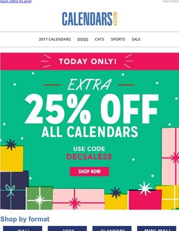 25% Off Every Single Calendar