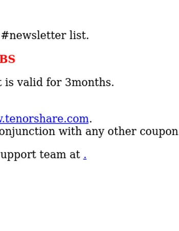 Tenorshare Newsletter & 5 coupon