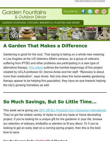 A Garden That Helps Veterans + Special Savings Inside