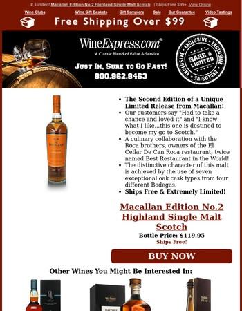 Limited Macallan No. 2 Single Malt Scotch Ships Free –2x Best Restaurant in the World Winners Collab!