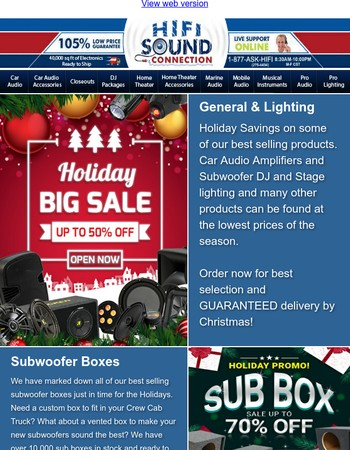 Holiday Sale W/ Kicker Rare Sale Items - Sub Boxes - Lighting and more! Limited Time Only!