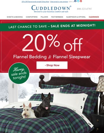 Save 20% on cozy Flannel | Ends Soon!
