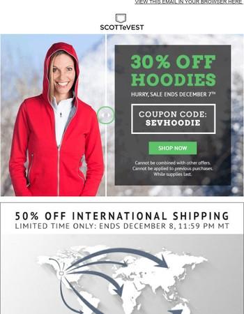 30% Off SCOTTeVEST Hoodies + 50% Off International Shipping!