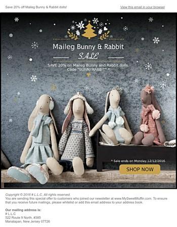 20% SALE on Maileg Bunny & Rabbit dolls