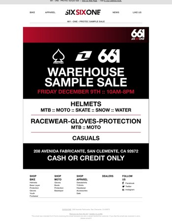 661 - ONE - PROTEC SAMPLE SALE