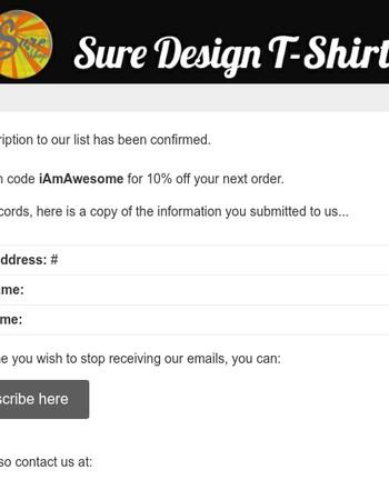 Sure Design - Subscription Confirmed