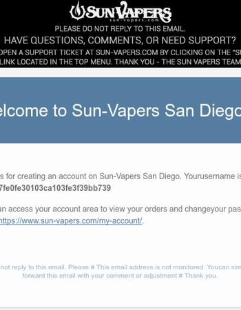 Your account on Sun-Vapers San Diego