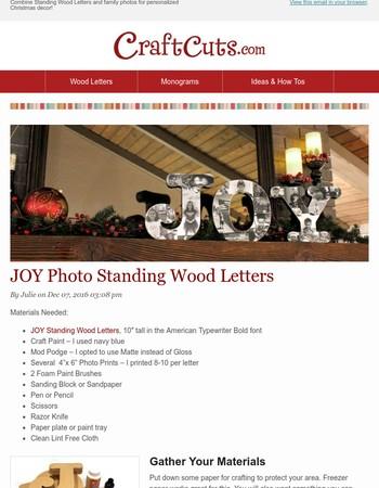 DIY: JOY Photo Standing Wood Letters