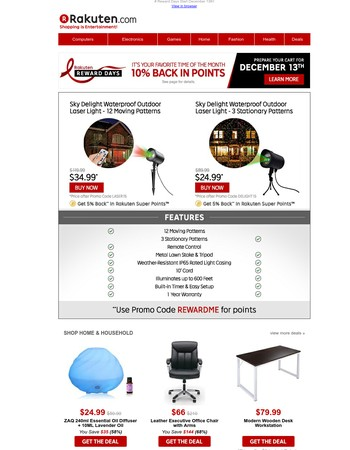 "$24.99 Holiday Waterproof Outdoor Laser Light | $14.99 Women's Basic V Neck T-shirt | $299.99 Samsung 40"" LED-LCD TV"