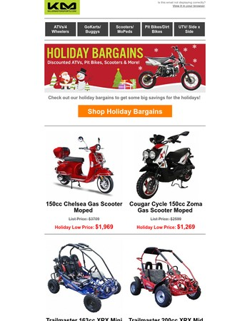 Holiday Bargains - Discounted ATVs, Pit Bikes, Go Karts & More!
