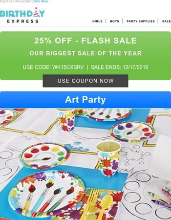 25% off Flash Sale on all Birthday Supplies
