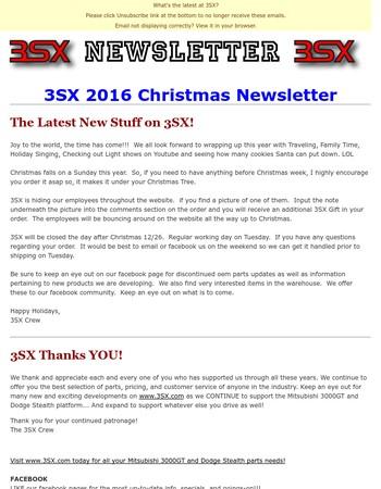 3SX 2016 Christmas Newsletter