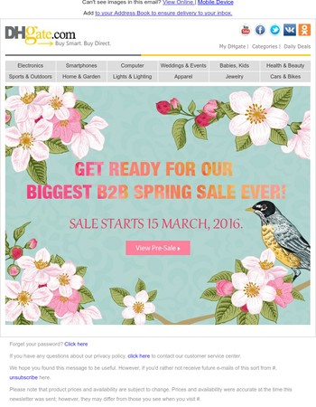Spring Sale is Coming! Starts 15 March, 2016. Preview now!