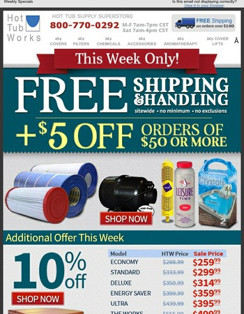 Free Shipping & Handling + $5 OFF - This Week Only!!