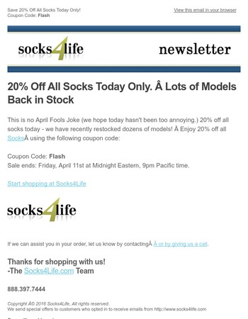 Flash Sale Friday! 20% Off.  Lots of socks back in stock.
