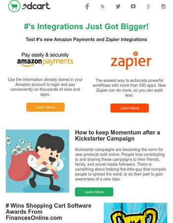 April 2016: New Pay with Amazon & Zapier integrations, $100 SEO Service, Grasshopper and more.