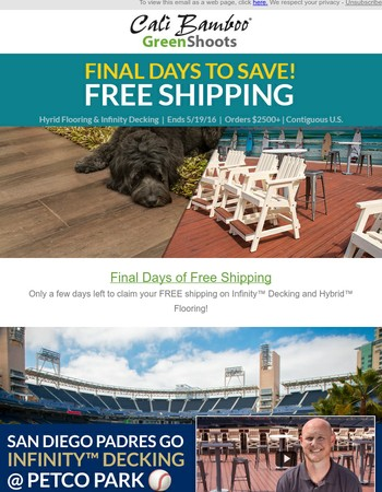 Final days to save on decking & flooring at Cali Bamboo