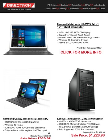 Click Here for Weekly Deals on Consumer and Enterprise Electronics!