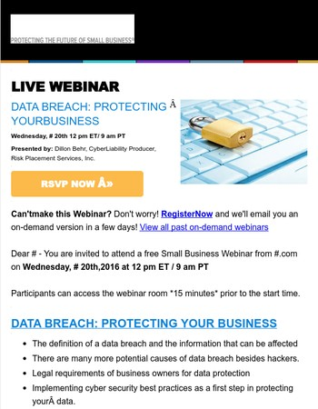 Webinar: Data Breach--Protecting Your Business