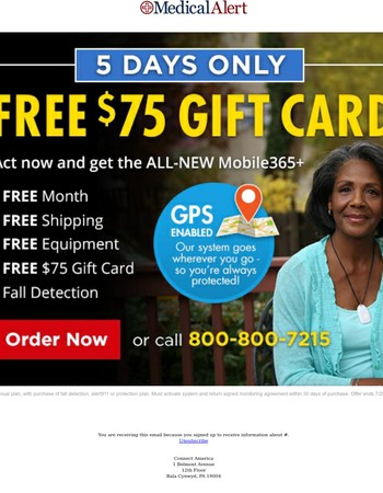 5 Days Only! - Free $75 Gift Card