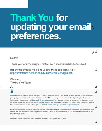 You updated your Email Preferences