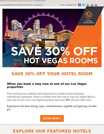 Get 30% off Vegas with Total Rewards