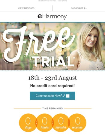 No credit card required - finish your questionnaire and try eHarmony for free!