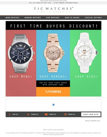 10% Off Your First Order Here At Tic Watches!