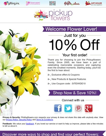 Thank You for Signing Up with PickupFlowers