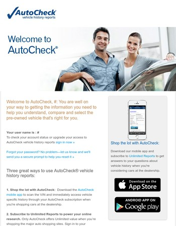 More info about your new AutoCheck account