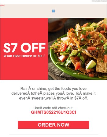 $7 OFF your food favorites!