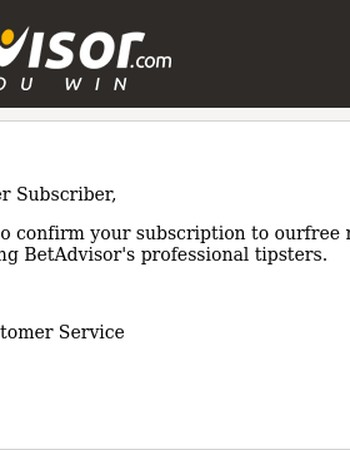 Thank you for subscribing to the BetAdvisor Newsletter!