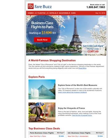 Visit Paris, A Shopper's Paradise. Business Class Flights Starting at $1496 R/T