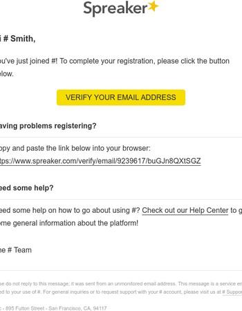 Spreaker email verification