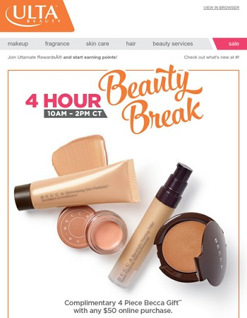 4 Hours Only: FREE 4 pc Becca Gift!