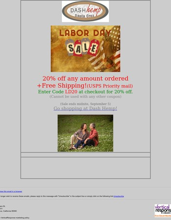 20% Off Labor Day Sale at Dash Hemp