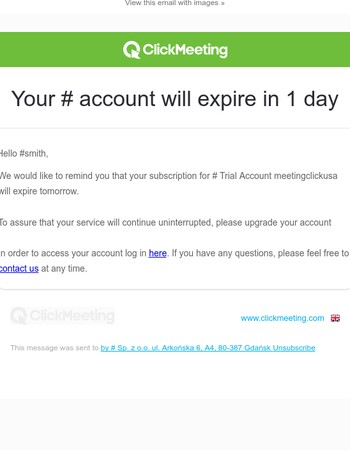 Your ClickMeeting account will expire in 1 day