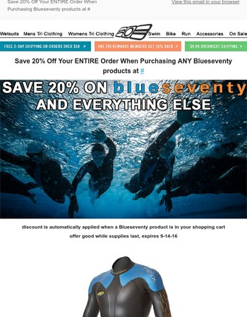 Limited Time Offer - Save 20% at OneTri.com