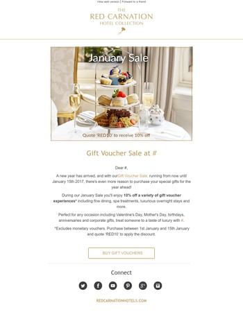 Gift Voucher Sale at Red Carnation Hotels